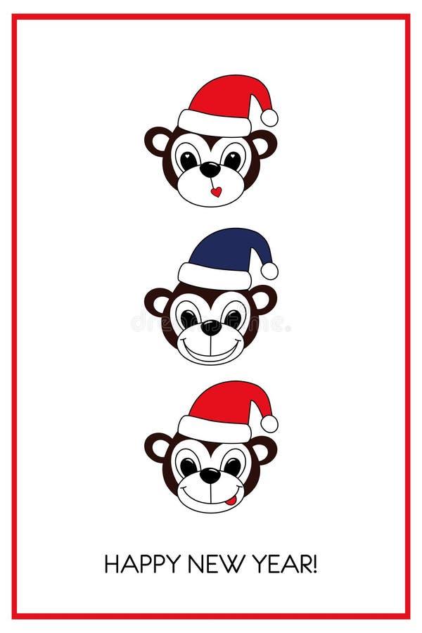 Новые Годы чешут с милыми обезьянами шаржа бесплатная иллюстрация
