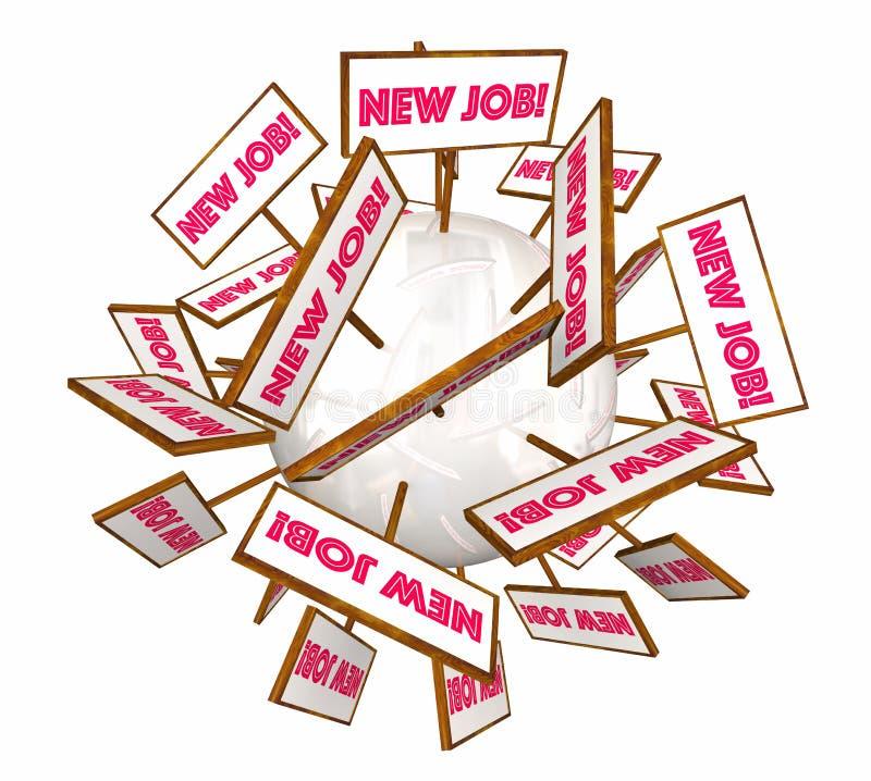 Новые знаки рабочего места открытой вакансии продвижения карьеры работ иллюстрация штока