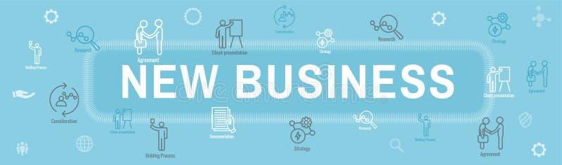 Новые знамя заголовка сети бизнес-процесса/набор значка бесплатная иллюстрация