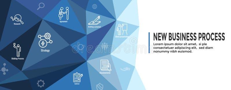 Новые знамя заголовка сети бизнес-процесса/набор значка иллюстрация штока