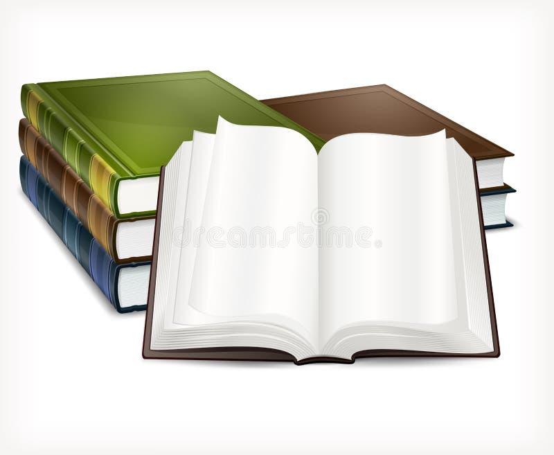 Новые книги раскрывают на белизне иллюстрация вектора