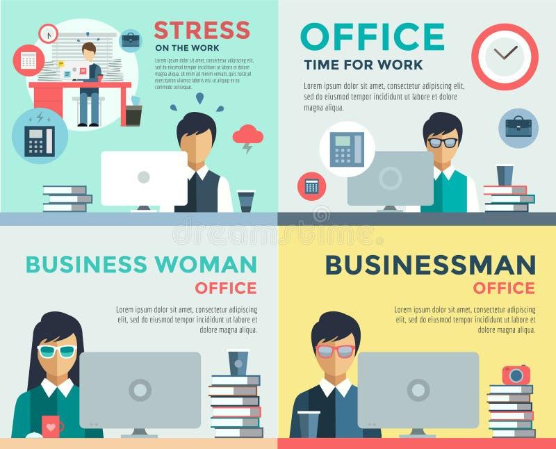 Новые поиск и стресс работы работают infographic иллюстрация штока
