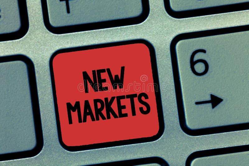 Новые рынки текста сочинительства слова Концепция дела для различных коммерчески стратегий достигая другой показывать полей стоковые изображения rf