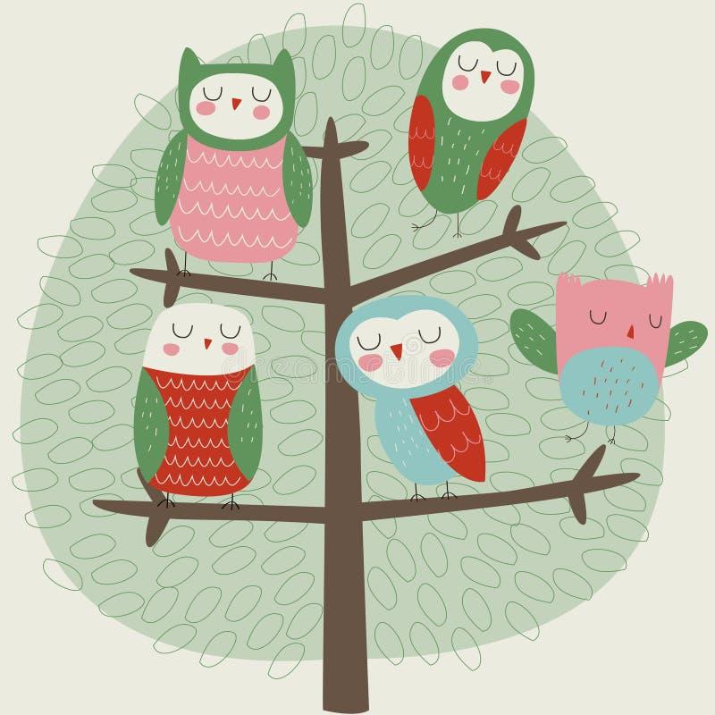Новые сычи на дереве бесплатная иллюстрация