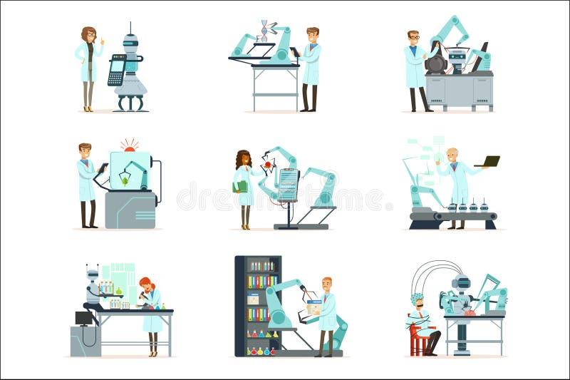 Новые технологии, комплект искусственного интеллекта, ученые работая в лаборатории с робототехническим вектором машин иллюстрация вектора