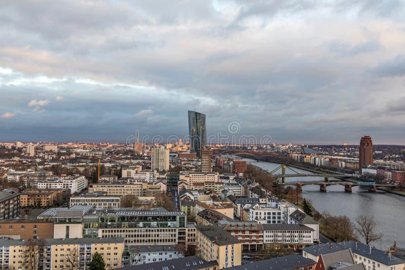 Новые штабы Европейского Центрального Банка или ECB Франкфурт, стоковые изображения rf