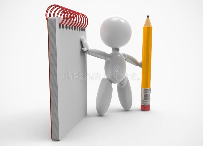 Новые люди 3D - карандаш и тетрадь бесплатная иллюстрация