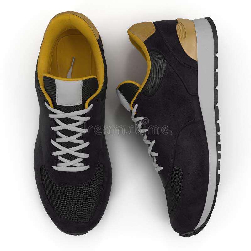 Новые unbranded идущий ботинок, тапка или тренер изолированные на белизне Взгляд сверху иллюстрация 3d иллюстрация вектора