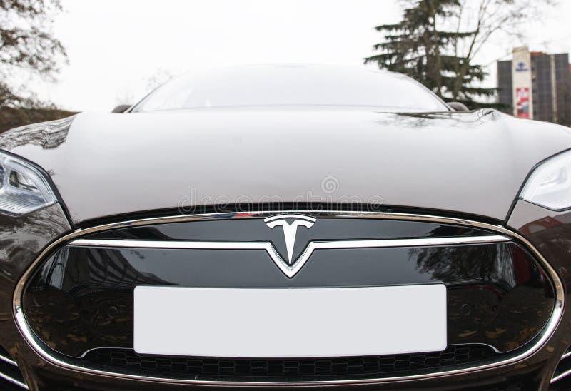 Новый автомобиль tesla с пустыми номерными знаками стоковое фото