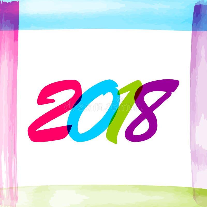 Новый Год акварели 2018 номеров бесплатная иллюстрация