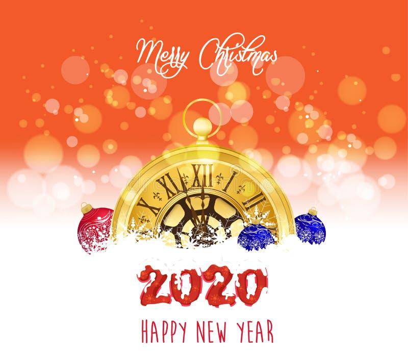 Новый год в канун 2020 Золотые часы рождественского фона бесплатная иллюстрация