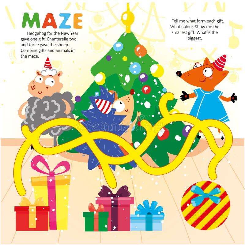 Новый Год головоломки игры лабиринта логики ребенк Printable бесплатная иллюстрация