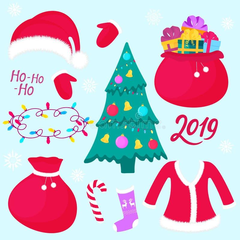 Новый Год Ель рождества с шариками Сумка с настоящими моментами Костюм и шляпа Санта Клауса Носок и mitten, гирлянда бесплатная иллюстрация