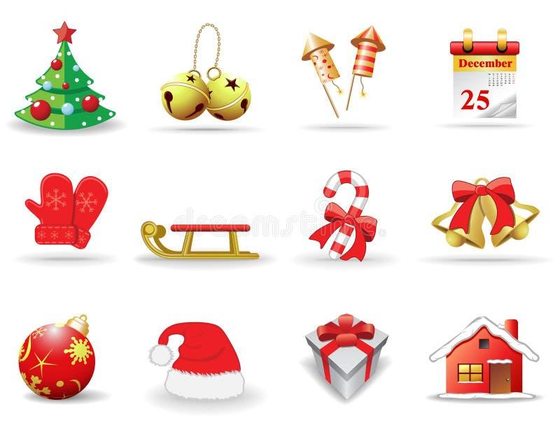 Новый Год икон рождества иллюстрация вектора