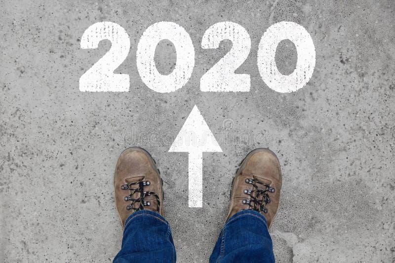 Новый Год 2020 как концепция на пути стоковые фотографии rf