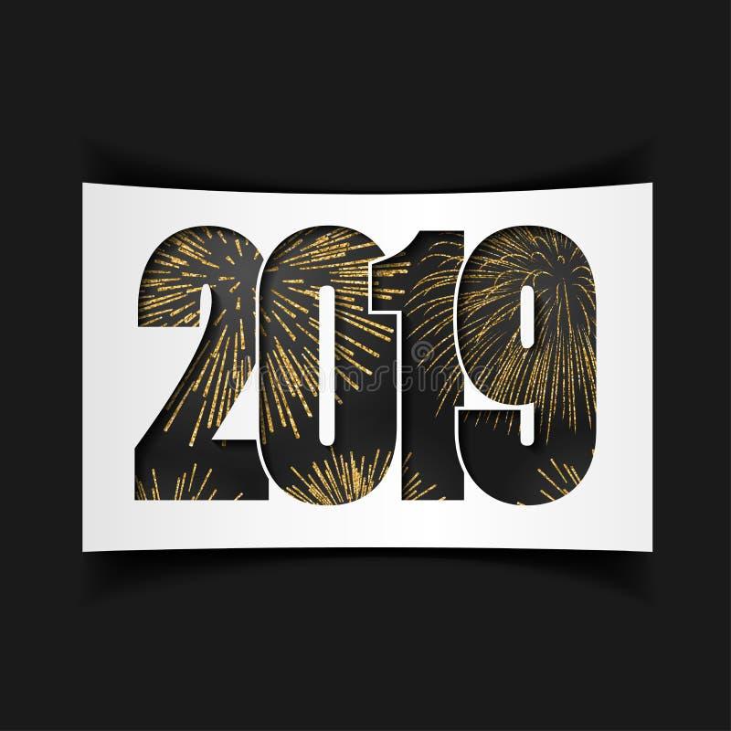 Новый Год карточки счастливое Черный 2019 с золотом сверкнает, изолированная белая предпосылка феиэрверк золотистый Яркий дизайн  иллюстрация штока