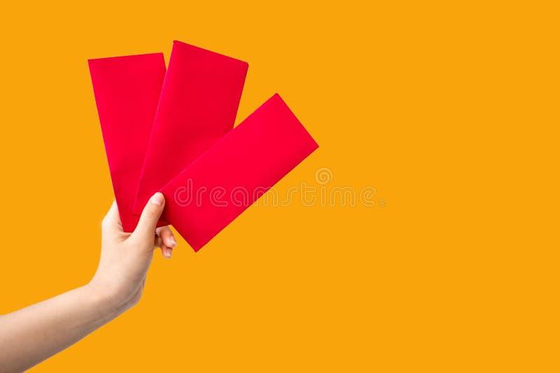 Новый Год красного пакета конверта китайский, hongbao на белой предпосылке на китайский Новый Год стоковые изображения rf