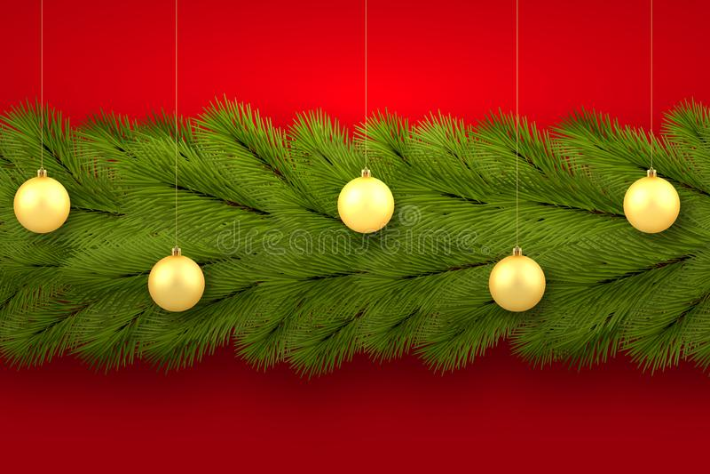 Новый Год, поздравительная открытка веселого рождества предпосылка праздничная Ветви дерева аранжированы горизонтально иллюстрация штока