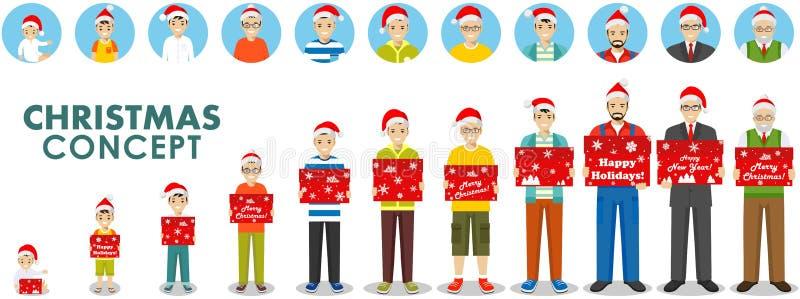 Новый Год принципиальной схемы рождества Поколения людей на различных временах держат коробку в шляпе Санта Клауса Вызревание чел иллюстрация вектора