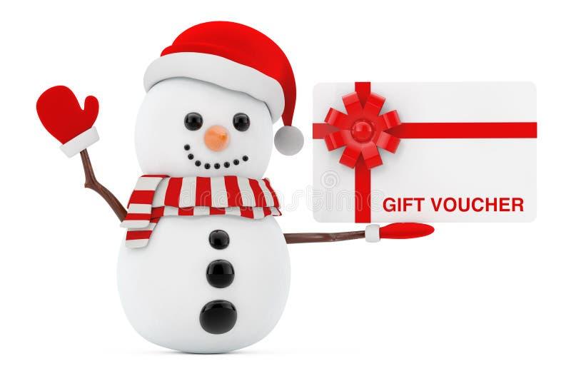 Новый Год принципиальной схемы Снеговик с карточкой подарочного сертификата перевод 3d иллюстрация вектора