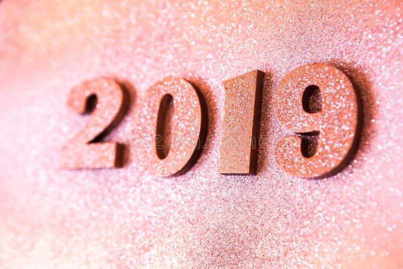 Новый Год принципиальной схемы С Новым Годом! знамя с золотом 2019 номеров Творческая предпосылка 2019 стоковая фотография rf