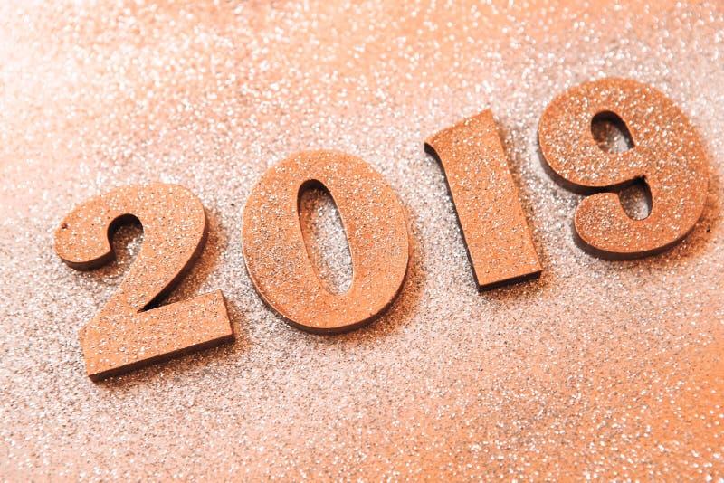 Новый Год принципиальной схемы С Новым Годом! знамя с золотом 2019 номеров Творческая предпосылка 2019 стоковое фото