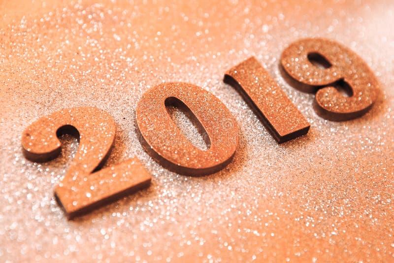 Новый Год принципиальной схемы С Новым Годом! знамя с золотом 2019 номеров Творческая предпосылка 2019 стоковая фотография