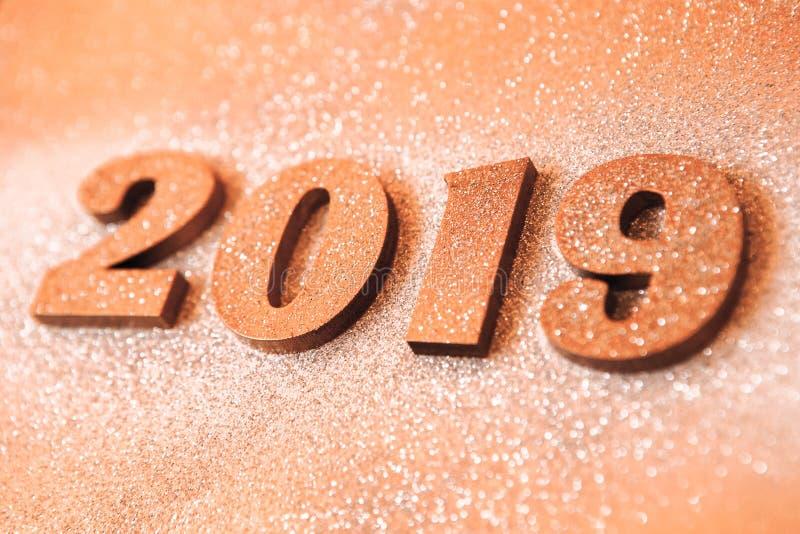 Новый Год принципиальной схемы С Новым Годом! знамя с золотом 2019 номеров Творческая предпосылка 2019 стоковые изображения