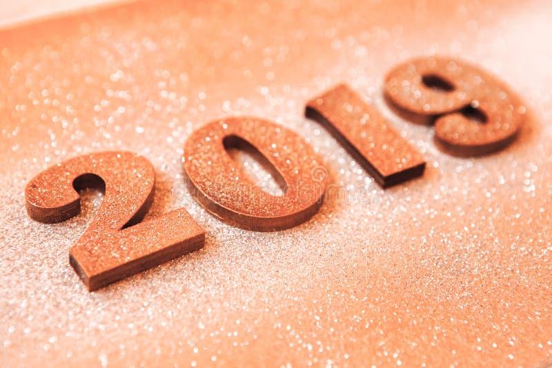 Новый Год принципиальной схемы С Новым Годом! знамя с золотом 2019 номеров Творческая предпосылка 2019 стоковые фото