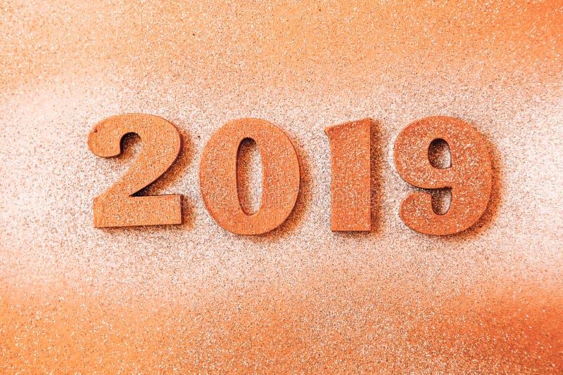 Новый Год принципиальной схемы С Новым Годом! знамя с золотом 2019 номеров Творческая предпосылка 2019 стоковое фото rf