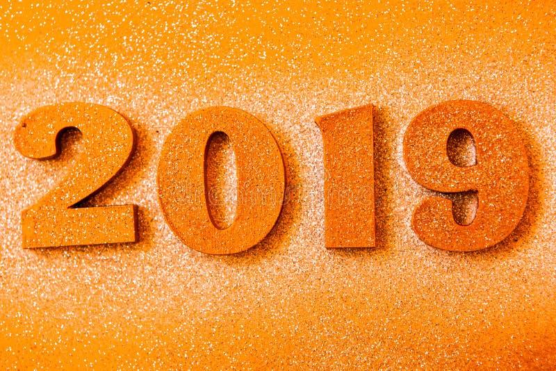 Новый Год принципиальной схемы С Новым Годом! знамя с золотом 2019 номеров Творческая предпосылка 2019 стоковые изображения rf