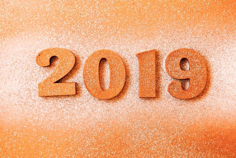 Новый Год принципиальной схемы С Новым Годом! знамя с золотом 2019 номеров Творческая предпосылка 2019 стоковое изображение