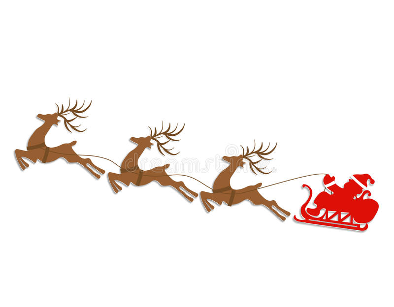 Новый Год рождества Абстрактные силуэты оленей и сани Санта Клауса Отрежьте из бумаги иллюстрация иллюстрация штока