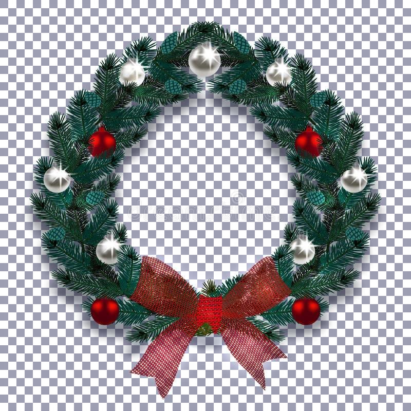 Новый Год рождества Голубая ветвь спруса в форме венка рождества с тенью Красный смычок, серебр и красные шарики иллюстрация штока