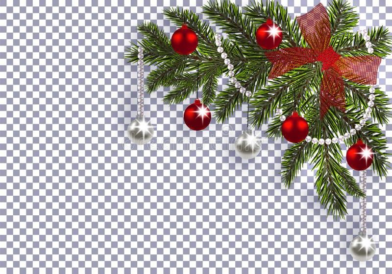 Новый Год Рождество Зеленая ветвь рождественской елки с игрушками с тенью Угловой чертеж красные смычок, серебр и красный цвет иллюстрация штока