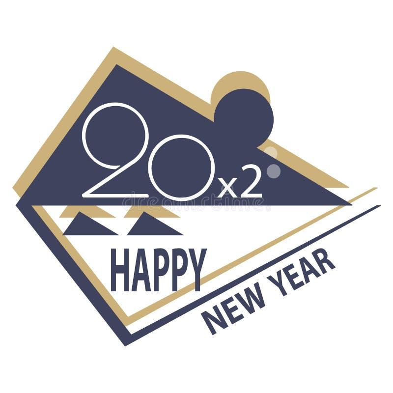 Новый Год 20 x 2 стилизованных год надписи крысы на белой предпосылке стоковое изображение