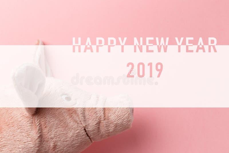 Новый Год текста свиньи на китайском календаре Свинья Нового Года на розовой предпосылке E 2019 год желтого eart стоковые фото