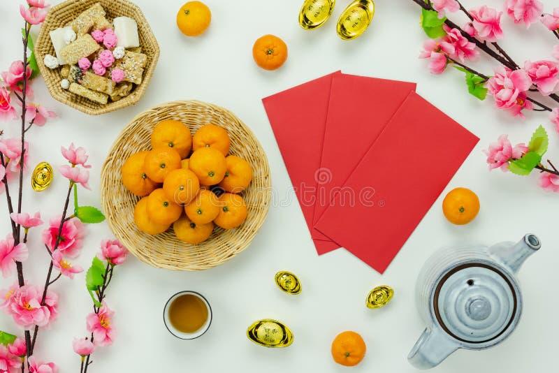 Новый Год украшения взгляда сверху китайский & лунный праздник Нового Года стоковые изображения rf
