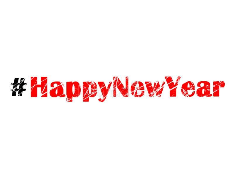 Новый Год Hashtag счастливый на белой предпосылке иллюстрация штока