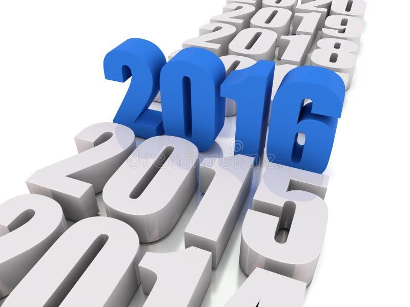 Новый Год 2016 в сини и других летах иллюстрация штока