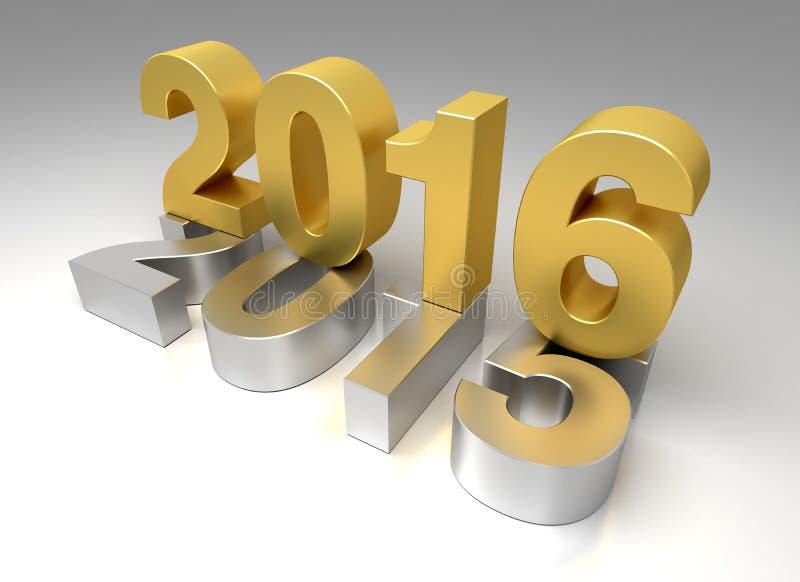 Новый Год 2016 и старое 2015 бесплатная иллюстрация