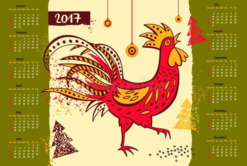 Новый Год китайца календаря 2017 петуха иллюстрация вектора