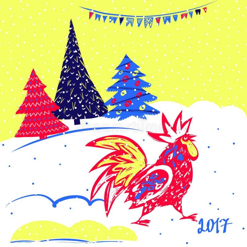 Новый Год 2017 китайцев петуха Иллюстрация вектора с деревом xmas Вручите вычерченной иллюстрации красного петуха на белой предпо иллюстрация штока