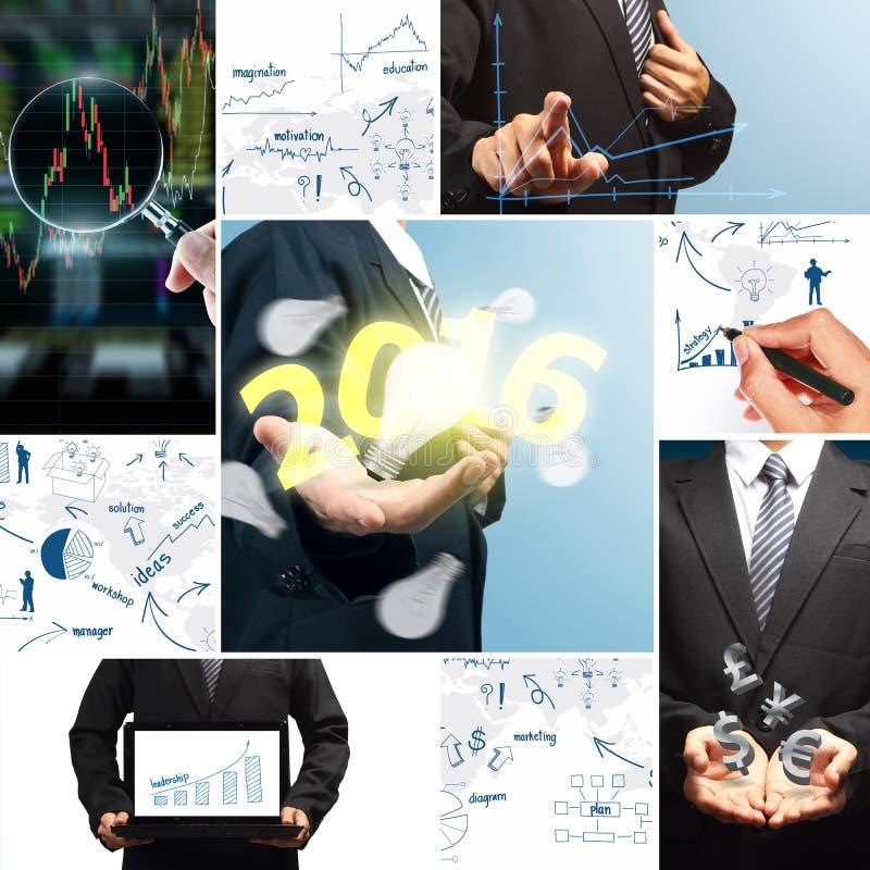 Новый Год 2016 концепции успеха в бизнесе иллюстрация штока