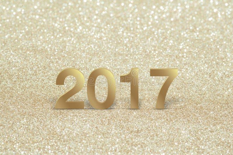 Новый Год, крупный план на золотое 2017 стоковые изображения