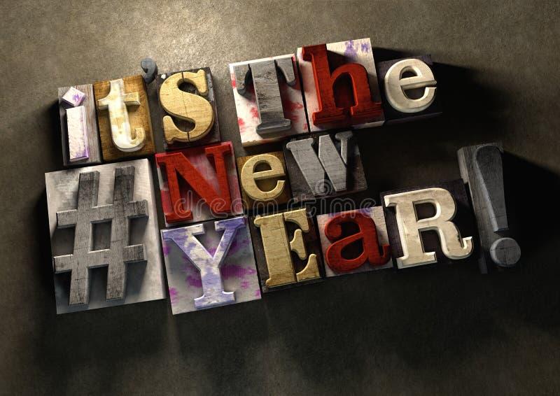Новый Год! Название празднуя 2016 на деревянном splatt чернил иллюстрация вектора
