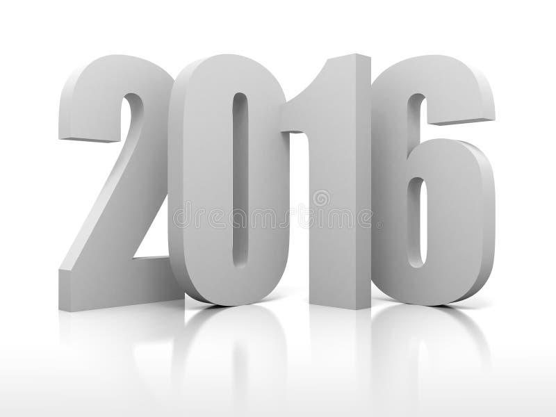 Новый Год 2016 номеров на белой предпосылке бесплатная иллюстрация
