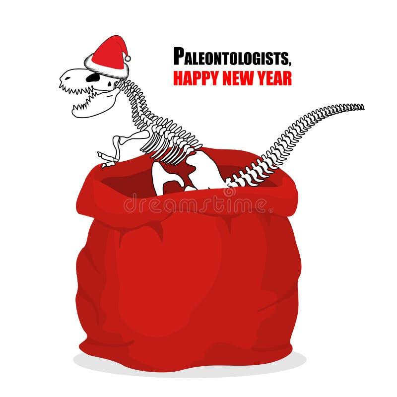 Новый Год палеонтологов Скелет динозавра в красном Cl Санты мешка иллюстрация штока