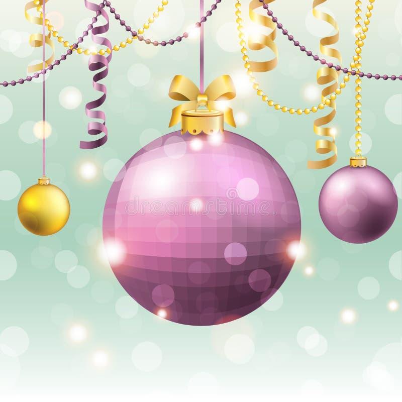 Новый Год приветствию карточки Шарик рождества с смычком и лентой бесплатная иллюстрация