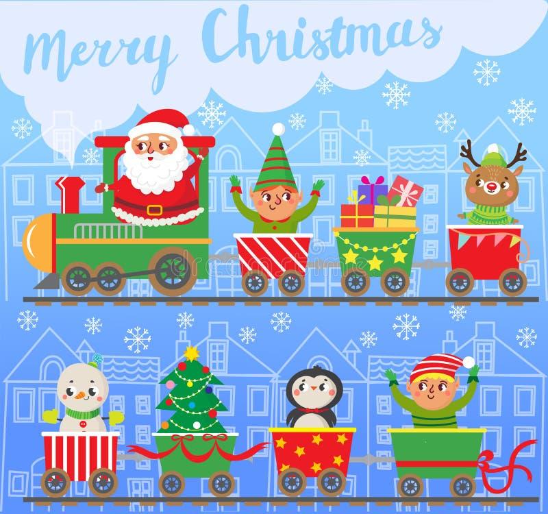 Новый Год рождества веселое Санта Клаус на поезде с подарками иллюстрация вектора